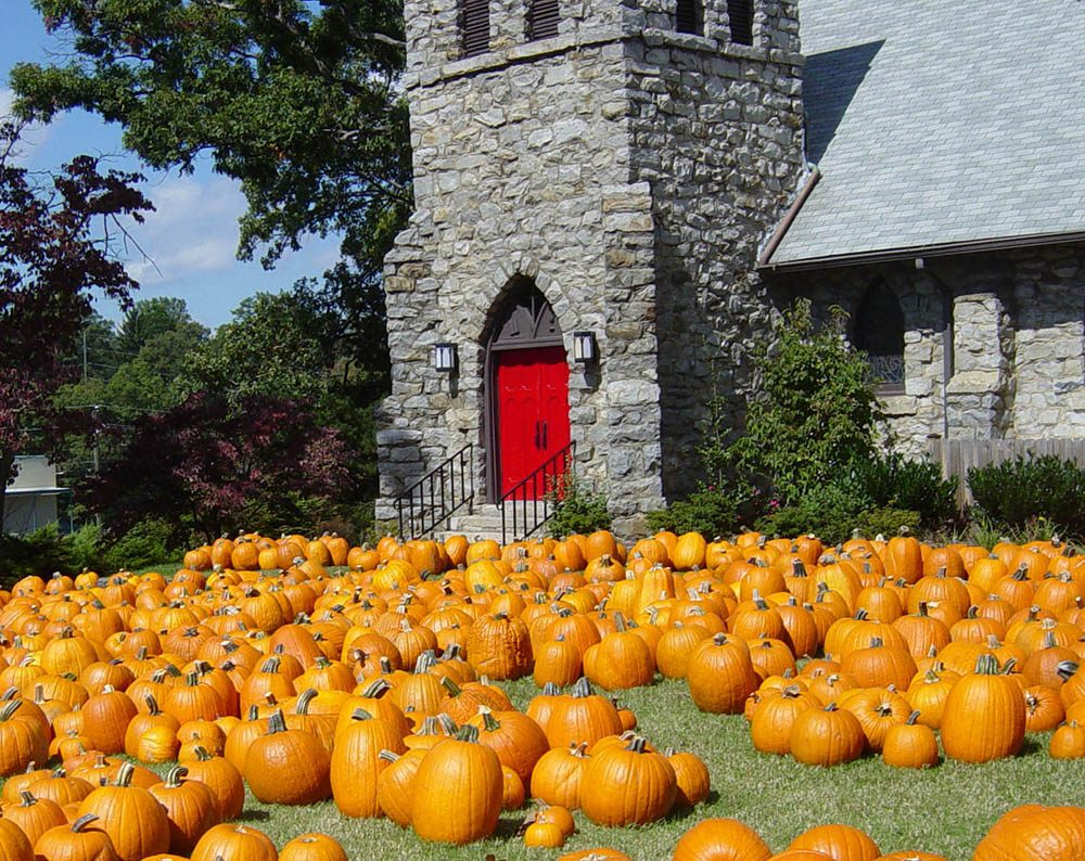 Pumpkins Sitting In Front of Grace Episcopal Church