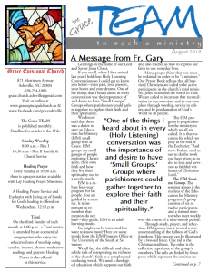 The Grace Team Newsletter from Grace Episcopal Church North Asheville
